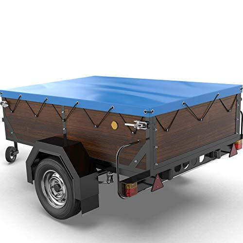 Tarpofix® Anhängerplane Flachplane 150 x 115 x 7,5 cm - inkl. Planenseil - randverstärktes Anhänger Planen-Set (blau) - langlebige Anhänger Abdeckplane für Stema DDR Hänger u. a. HP 400 500 etc.