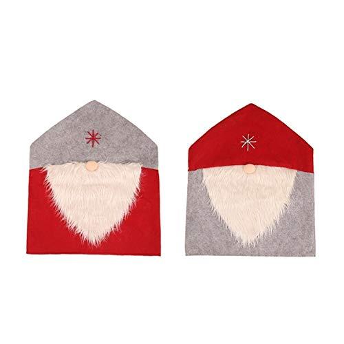 Lebeaut Silla de Navidad 2pc Cubierta decoración Suministros heces Cubierta for Comedor Decoración Decoración De Restaurante Desmontable Y Lavable