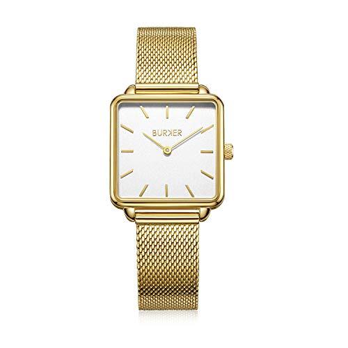 Burker Chloe Dameshorloge, 28 mm horloge voor dames, met wijzerplaat in de vorm van een wijzerplaat, dameshorloge, waterdicht (30 m), kleine platte horlogebehuizing