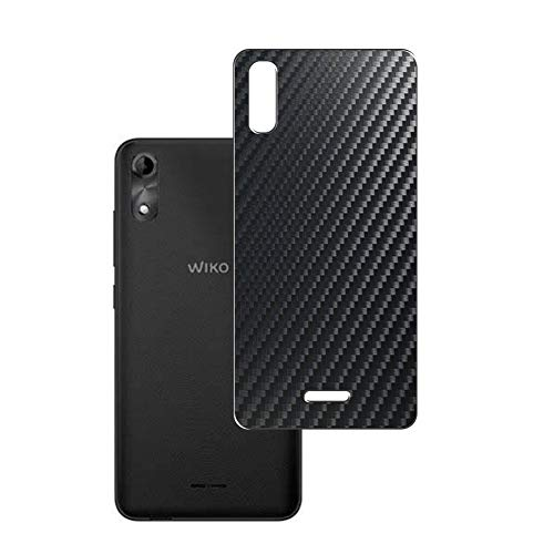 VacFun 2 Piezas Protector de pantalla Posterior, compatible con Wiko Y51, Película de Trasera de Fibra de carbono negra