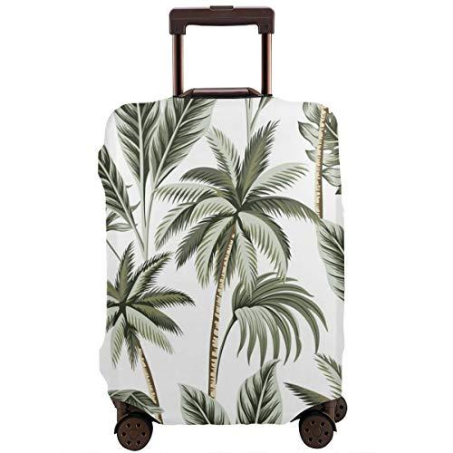 Travel koffer beschermer, tropische vintage Hawaiian palmbomen banaan en palmbladeren bloemige naadloos patroon witte achtergrond exotische jungle behang, koffer cover wasbare bagage cover