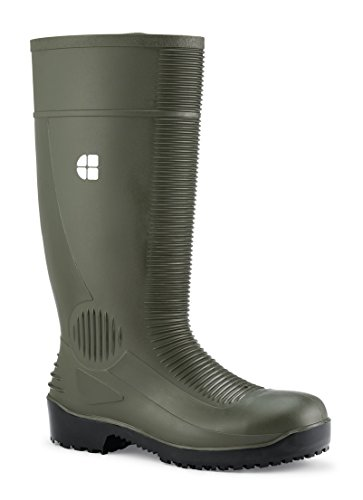 Calzado verde 70557-42/8 BASTION de Shoes for Crews, unisex, PVC, puntera de acero, tipo Botas de Agua, antideslizante, número 42, Verde
