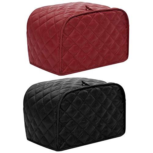 Cimoto Cubierta de Polvo para Tostadora de 2 Rebanadas Cubierta Protectora de MáQuina para Hacer Pan Bolsa a Prueba de Polvo 2 Paquetes Rojo y Negro (Cubierta de Tostadora de 2 Rebanadas)