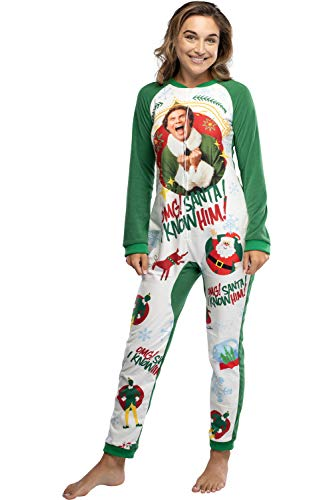 Elf The Movie Women's OMG Santa! I Know Him! One-Piece Sleeper Pajama Union Suit (S/M)