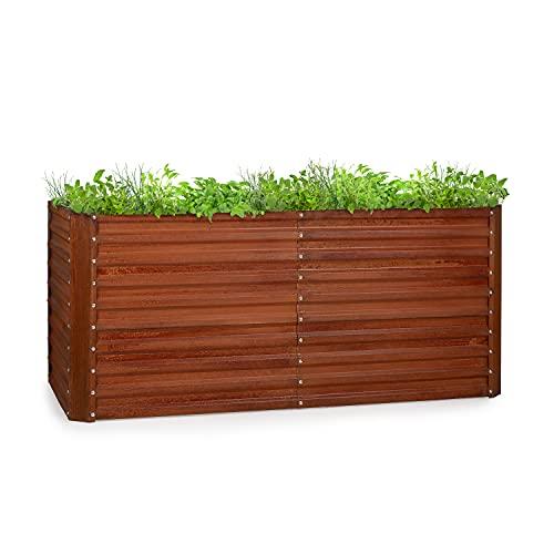 blumfeldt Rust Grow Hochbeet Gartenbeet, verzinktes Stahlblech, Materialstärke: 0,6 mm, einfache Montage, Rost-Finish, 200 x 90 x 100 cm (BxHxT) Rost