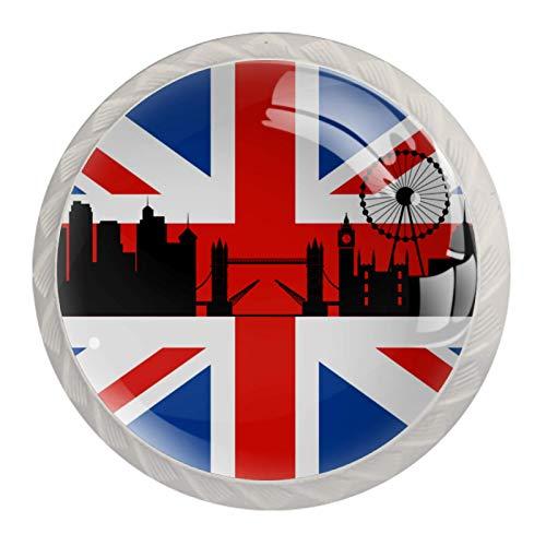 Pomos de gabinete para cajones y cajones, de cristal ABS, redondos, tiradores de armario, con tornillos, para cocina, oficina, baño, 4 unidades, bandera británica con paisaje urbano de Londres