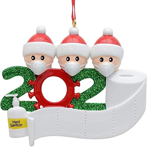 JOERRES 2020 3D Weihnachtsschmuck Personalisierte Überlebte Familie DIY Ornamente Weihnachtsbaumanhänger Santa Verzierungsdekor Familie Freunde Kinderparty. (Familie von 3)