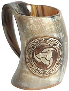 Viking Ox Horn Drinking Mug Unique Medieval Inspired Mug 100 Authentic Drinking Horn Mug with product image