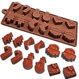 Molde Horneado Silicona 6 Formas Navidad Chocolate Tarta Hielo Gelatina Fondant - Marrn, 6 figuras navidad