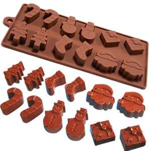 Silikonform für Eis/Kuchen/Schokolade/Zuckerdekoration, Silikon-Mini-Form für Fondant, Schokolade, Pralinen, Silikon, braun, 6 Shapes Christmas