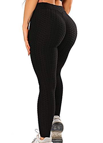 FITTOO Damen Scrunch Butt Leggings Honeycomb Yogahose Booty Lifting Fitness Hose Push-Up Sporthose Stretch Workout Fitness Jogginghose Design 2 - Schwarz XL