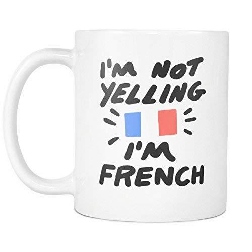 Taza de café Francesa de 11 oz 'No Estoy Gritando' - Taza de Regalo Divertida para compañeros de Trabajo y Amigos de Francia