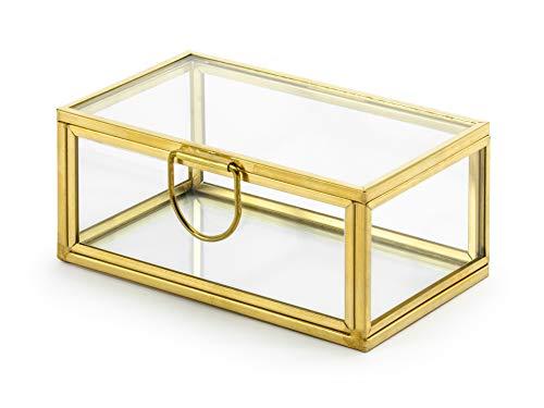PartyDeco Joyero decorativo de cristal y metal dorado, 9 x 4 x...