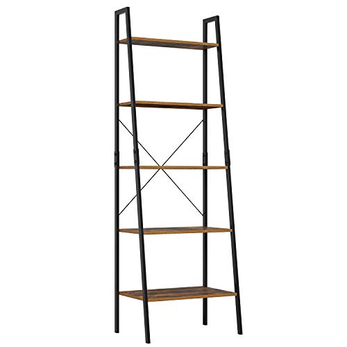 Homfa Industrial Ladder Shelf, 5 Tier Bookshelf Plant Flower Stand Storage Rack Multipurpose Utility Organizer Shelves Wood Look Accent Metal Frame Furniture Home Office