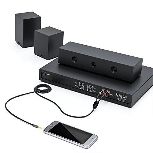 Negro deleyCON 1,5m Cable Cinch de Conector Audio Jack de 3,5mm Cable con 1 Conector de Audio Jack 3,5mm y 2 Conectores RCA Cinch