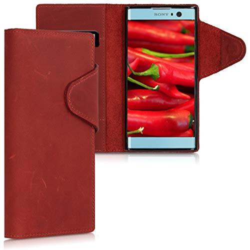 kalibri Wallet Hülle kompatibel mit Sony Xperia XA2 - Hülle Leder - Handy Cover Handyhülle in Dunkelrot