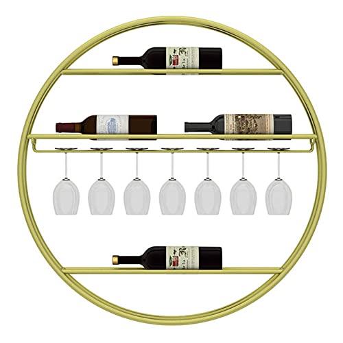 Estante De Vino Redondo Montado En La Pared Hierro De Metal Al Revés Colgante De Copa De Vino Cubilete Estante De Exhibición De Vajilla Estante De Decoración De Botella De Vino Para Barra De Cocina