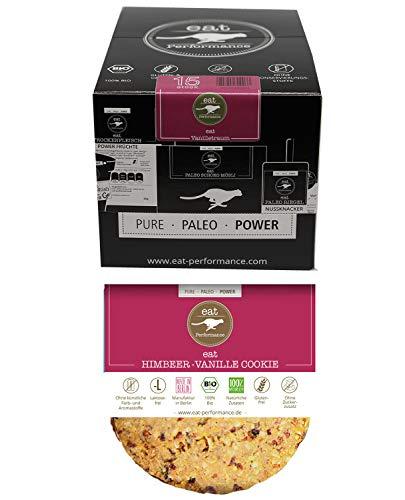 eat Performance® Himbeer Vanille Cookie (15x 40g) - Bio, Paleo, Glutenfreie Kekse 100% Natürlichen Zutaten