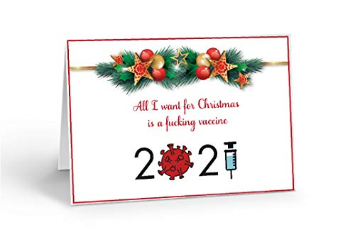 COVID Christmas Card, Fucking Vaccine, Merry Christmas, 2020, Pandemic, Funny, 5 x 7 inches, Blank Inside, Envelope Included