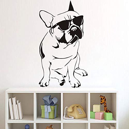 mlpnko Französische Bulldogge mit Sonnenbrille Wandaufkleber Spaß Tiermuster Applikation Kinderzimmer Vinyl Wandaufkleber 50X96cm