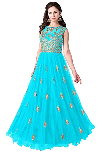 Varudi Fashion Multi Color Heavy Soft Net Fabric Embroidery Work Round Neck Sleevesless Long Semi Sticthed Gown For Women (Beli rama)