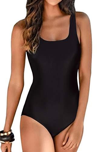 Aleumdr Womens One Piece Swimsuits Women Criss Cross Back Tummy Control Bathing Suits Racing Training Sports Athletic Monokini Swimwear Black 2XL 18 20