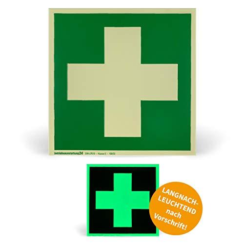 Betriebsausstattung24 1000038 Schild Rettungszeichen Erste Hilfe ASR A1.3 ISO 7010 E003 Folie (klebend) langnachleuchtend DIN 67510 Klasse C, 15 x 15 cm