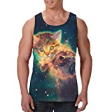 HARLEY BURTON Men's Tank Tops Starry Space Cat Explosion Graphic Sleeveless Shirts for Beach Summer
