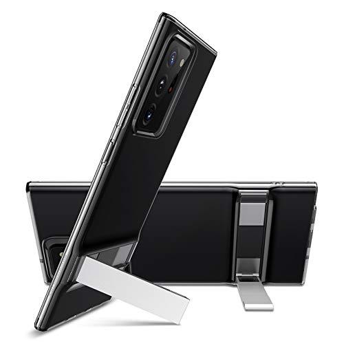 ESR Metal Kickstand Case for Samsung Galaxy Note 20 Ultra [Slim Soft Silicone] [Vertical & Horizontal Stand] – Translucent Black