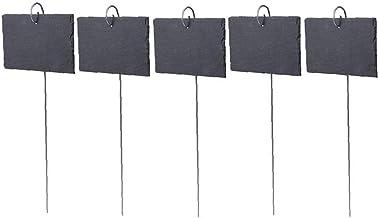 Plant Label Garden Marker Slate Black natuurlijke teken Label met RVS Opknoping Rod 5PCS (10x7cm) Meld Label voor Garden