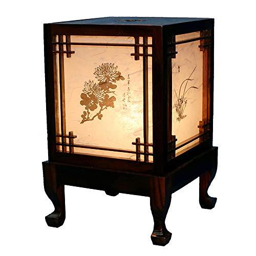 Lámpara de madera tallada Hecha a mano tradicional Ventana coreana Cuatro seres nobles Diseño Linterna Art Deco Marrón Asiático Oriental Mesita de noche Acento del dormitorio Luz de mesa inusual