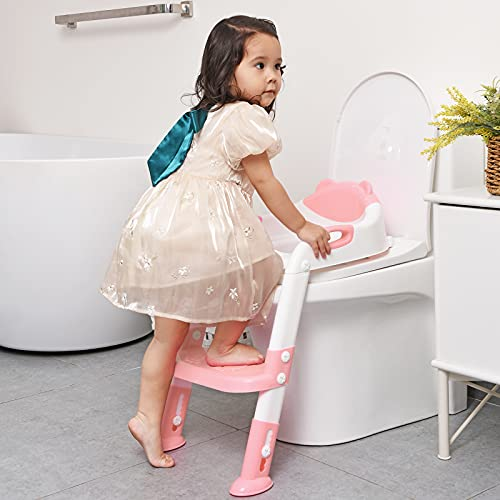 Potty Training Seat with Step Stool Ladder,SKYROKU Potty Training Toilet for Kids Boys Girls Toddlers-Comfortable Safe Potty Seat with Anti-slip Pads Ladder (Pink)