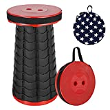 Portable Telescopic Stool, Collapsible & Retractable Folding Chair for Adults, Telescoping Fordable Furniture Max Load 600 lbs for Camping Fishing Hunting Hiking BBQ Outdoor and Indoor Activities(Red)
