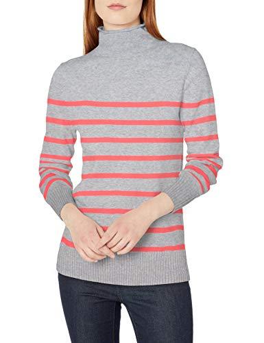 Amazon Essentials Long-Sleeve 100% Cotton Roll Neck Sweater Pullover-Sweaters, Hellgrau meliert/korallenfarbene Streifen, S