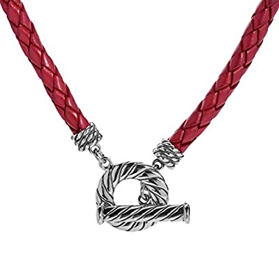 American West Sterling Silver Red Leather Toggle Necklace 17 Inch