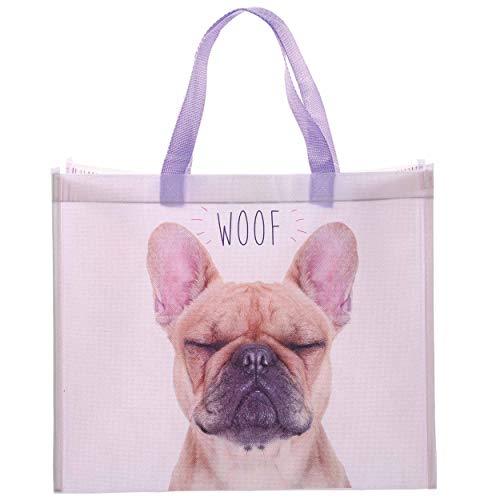 Puckator Einkaufstasche mit französischer Bulldogge, 33 x 40 x 16,5 cm (H x B x T).