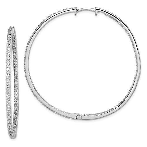 925 Sterling Silver Diamond In Out Hoop Earrings Ear Hoops Set Fine Jewelry For Women Gifts For Her
