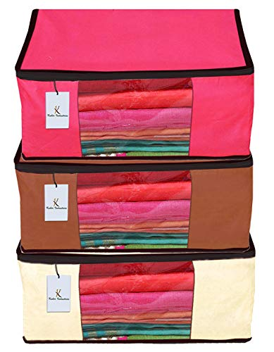 Kuber Industries 3 Piece Non Woven Fabric Saree Cover Set with Transparent Window, Extra Large, Ivory,Pink,Dark Brown