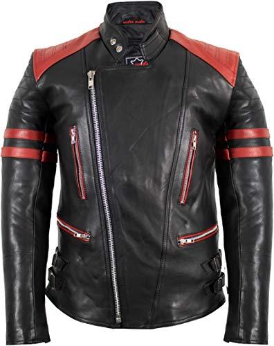 MDM Retro Oldschool Lederjacke, schwarz-rot Motorradjacke (XXXL)