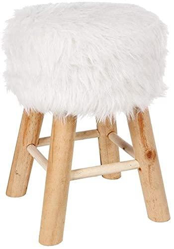 TIENDA EURASIA® Taburete Infantil Decorativo - Puff de Madera con Asiento de Pelo Blanco - Taburete Diseño Nordico Natural - 29,5 x 41,5 cm