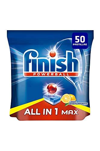 Finish Powerball All in 1 Max – Pastillas para el lavavajillas todo en 1 – limón – formato 50 unidades