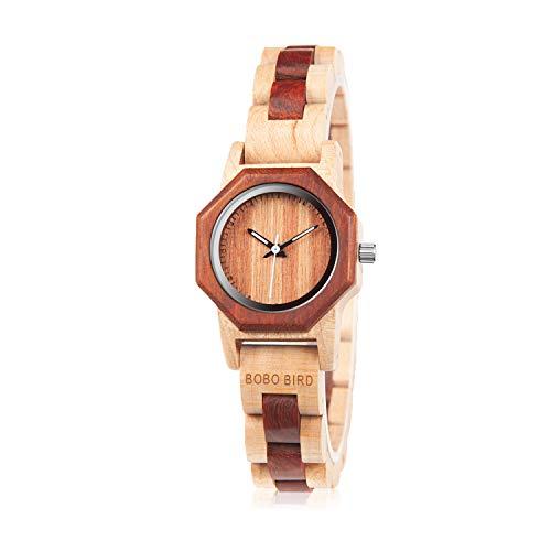 BOBO BIRD Women's 27MM Handmade Wooden Watch Exquisite Lightweight Wristwatch Natural Red Sandalwood with Bracelet Clasp Watches with Gift Box