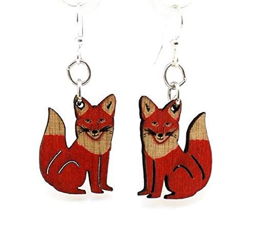 Brincos de madeira de raposa vermelha Green Tree Jewelry #1292
