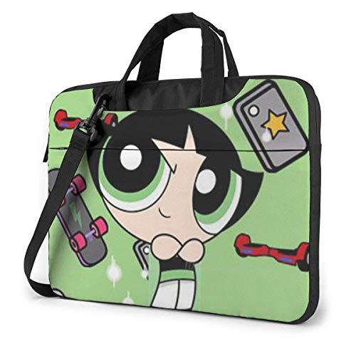 XCNGG Green Powerpuff Girl Laptop Bag Business Briefcase for Men Women, Shoulder Messenger Laptop Sleeve Case Carrying Bag- 14 Inch