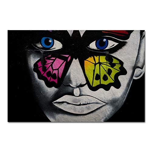 N / A Leinwand Poster Retro Schwarz-Weiß-Zeichnung Malerei Gesicht Graffiti Wandkunst Bild Wohnzimmer Dekoration Rahmenlos 50x70cm