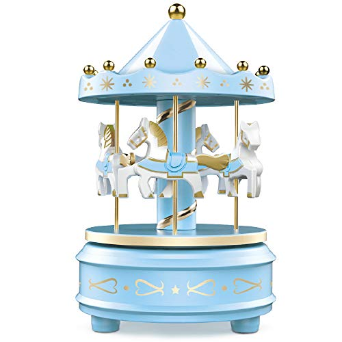 WEofferwhatYOUwant Carousel Music Box - Easy Twist, Blue - 4 Horse Classic Decor, Melody Beethoven's Fur Elise. Fall Asleep to Music Lights or Decorate Your Cake