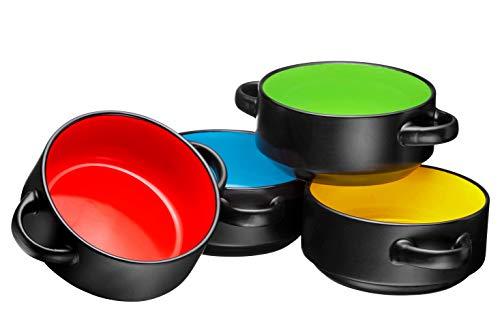 Porcelain 19 Oz. Soup Bowls With Handles - Oven Safe Bowls For French Onion Soup, Black Oven Soup Bowls, Set Of 4