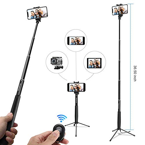 Mjiands Selfie Stick Tripod, 36 Inch Extendable Monopod Selfie Stick with Remote and Wired Headphone Jack Compatible for Smartphones Digital Cameras Action Cameras (Portable Bag Included)