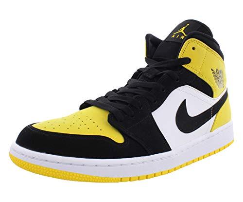Jordan Air 1 Mid SE, Baskets, (Noir/noir/jaune/blanc.), 40 EU