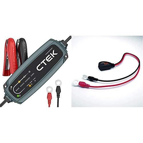 CTEK EU CT5 Powersport Batterieladegerät für 12V Starterbatterien von Motorrädern, Rollern, Quadbikes, Jetski Schwarz 30x7x15 cm & Comfort Connect Direct Connect Adapter (M8 Muttern), 40cm Kabellänge